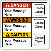 Personalized Danger, Warning, Caution Text Multiclipart ANSI Label