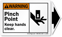 Pinch Point ANSI Warning Label with Detachable Arrow