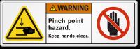 Pinch Point Hazard Keep Hands Clear Warning Label
