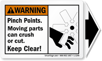 Moving Parts Keep Clear Label with Detachable Arrow