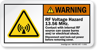 RF Voltage Hazard 13.56 Mhz. Disconnect Lock-Out Label