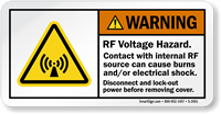 Contact With Internal RF Source Cause Burns Label