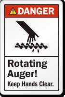 Rotating Auger Keep Hands Clear Danger Label