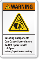 Rotating Components Can Cause Severe Injury Warning Label