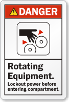 Rotating Equipment Lockout Power Before Entering Compartment Label