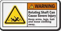 Rotating Shaft Cause Severe Injury ANSI Warning Label