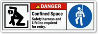 Confined Space Safety Harness And Lifeline Required Label