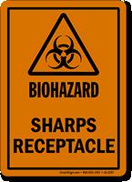 Sharps Receptacle Biohazard Label
