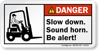 Slow Down Sound Horn Be Alert Danger Label