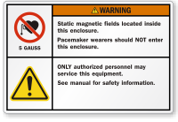 Static Magnetic Fields Located Inside ANSI Warning Label