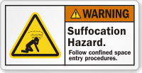 Suffocation Hazard Follow Confined Space Procedures Warning Label
