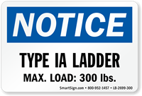 Type IA Ladder, Max Load: 300 LBS Label