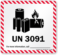 UN 3091 Lithium Battery Label