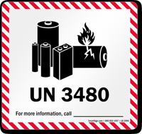 UN 3480 Lithium Battery Label