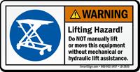 Warning Lifting Hazard, Dont Lift Manually Label
