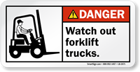 Watch Out Forklifts Lift Trucks Label With Symbol