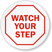 Watch Your Step Circle Shaped Label