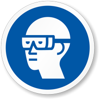 Wear Chemical Goggles ISO Mandatory Safety Label