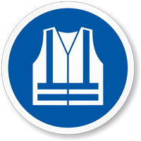 Wear High Visibility Vest ISO Mandatory Label