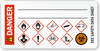Danger, Biohazard and GHS Secondary Label