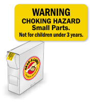 Warning Choking Hazard Label In a Box