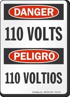 110 Volts Bilingual OSHA Danger Sign