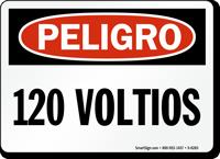 Spanish 120 Voltios OSHA Peligro Sign