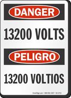 13200 Volts Bilingual OSHA Danger Sign