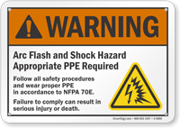 Arc Flash Shock Warning Hazard Sign