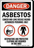 OSHA Danger Asbestos Cancer Lung Hazard Sign