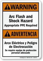 Bilingual Arc Flash Shock Hazard, PPE Required Sign