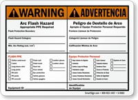 Arc Flash Hazard PPE Required Sign (Bilingual)
