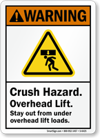 Crush Hazard Overhead Lift ANSI Warning Sign