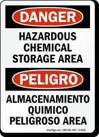 Hazardous Chemical Storage Bilingual Sign