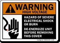 Warning ANSI High Voltage Electrical Shock Hazard Sign
