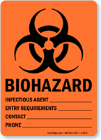 Biohazard Infectious Agent Entry Requirements Sign
