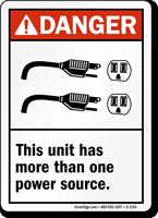 Danger (ANSI) Unit Multiple Power Sources Sign