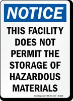 No Hazardous Materials Storage Sign