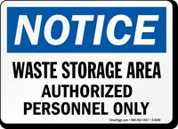 Notice Waste Storage Area Sign