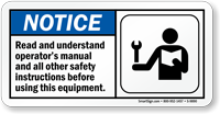 Read Operators Manual Before Using Equipment Sign