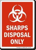 Sharps Disposal Only Biohazard Sign