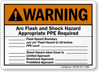 Warning Arc Flash Shock Hazard Sign