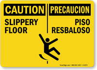 Bilingual Caution Slippery Floor Sign