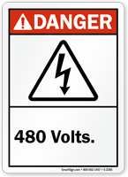 Danger (ANSI) 480 Volts (with Graphic)