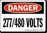 Danger 277/480 Volts Sign