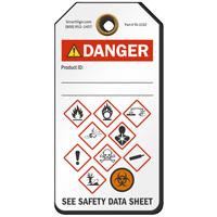 Danger GHS Hazard Symbols Tag