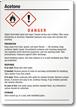 Acetone Danger Medium GHS Chemical Label
