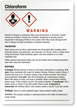 Chloroform Warning Medium GHS Chemical Label