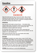 Gasoline Danger Medium GHS Chemical Label