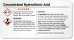 Small Concentrated Hydrochloric Acid GHS Chemical Label